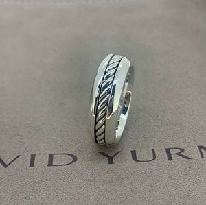 David Yurman Cable Inset Band in Sterling Silver